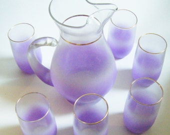 West Virginia Glass Blendo 7 Piece Lavender Pitcher And Tumbler Glass Set