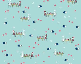 "Riley Blake Designs ""Enchant"" by Natalie Lymer of Cinderberry Stitches - Enchant Tea Party Aqua - 1/2 yard"