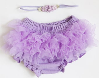 Ruffle Bloomers - lavender - diaper cover with vintage Flower crown Headband for newborn toddler lilac light purple