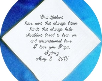 Grandfather of the  Bride or Groom  Heirloom Embroidered, Personalized Hanky, Gift, Handkerchief