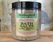 Calming Bath Salts with Dead Sea Salt, Himalayan Pink Salt, French Green Clay, Comfrey, Peppermint + Essential Oils. Herbal Bath Soak.