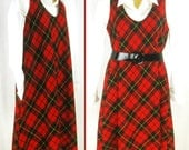 Vtg 60's - 70's Mod Shift Red-Black Tartan Plaid ~SEARS JR. BAZAAR~ Schoolgirl Jumper Dress