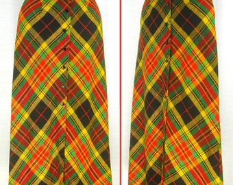 Vintage 60s Check Yellow-Red-Black-Green Plaid Acrylic ~ARDEE~ MAXI Button front Skirt  M
