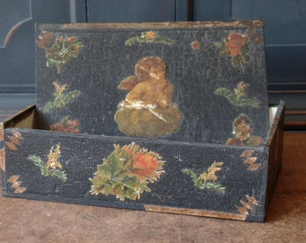 Vintage Box, S. F. Hess & Co. Black, Trinket, Jewelry, Victorian, Shabby, Vanity