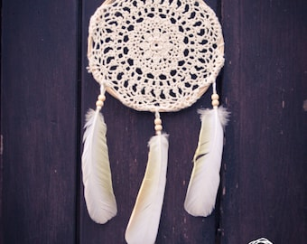 Dream Catcher - White Sunflower - With White Crochet Web and Exotic White Feathers - Boho Home Decoration, Nursery Mobile