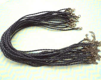 20 pcs 16-18inch 3mm black   faux braided leather necklace cord with antique  bronze fittings