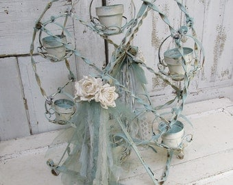 Metal Ferris wheel centerpiece painted robins egg blue w/ white shabby cottage chic distressed rusty home wedding decor anita spero design