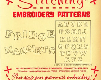 Alphabet Embroidery Pattern - Re-usable Iron On Transfer Pattern for Woodburning, Embroidery - Fridge Magnets