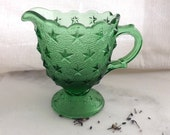 L.G.Wright Footed Pitcher Pattern No. 59 Stipple Star / Made 1959 - 1960 / Green Star Design on Stipple Background.