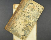 Authentic 18th century Book Boards 4x7 marbled covers Heavily Aged vintage antique set of 2 front/back