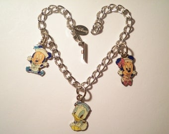 """2 Vintage Silverplated Disney 7-1/2"""" Bracelets with Mickey, Mini and Donald Duck Charms"""