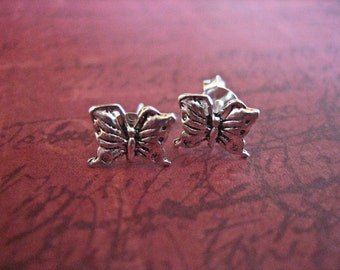 Vintage 925 Sterling Silver Butterfly Stud Earrings