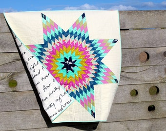 Modern Lap Quilt Wall hanging Lonestar or Star of Bethlehem Pattern Pink Blue and Cream