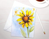 Watercolor notecards, sunflower painting, art reprint, autumn harvest notecards, personal stationery, stationery set, gardening stationery