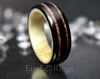 Deer antler wedding band rings with Irish bog Oak