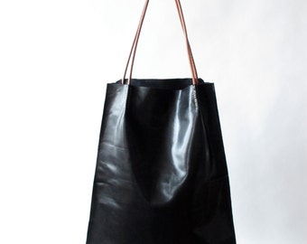 modern handmade leather tote bag donna leather bag amy kreiling black sholder bag