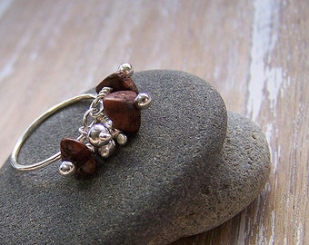 Wood & Silver Cluster Ring, Cluster Ring, Pinky Ring, Wood Seeds, Sterling Silver Cluster Ring