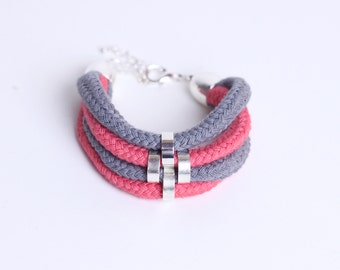 Pink, Silver, Grey - Minimalist Bracelet with beads