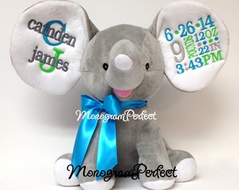 Personalized Birth Announcement Gray Floppy Ear Stuffed Elephant (Teal Blue, Lime Green & Gray)