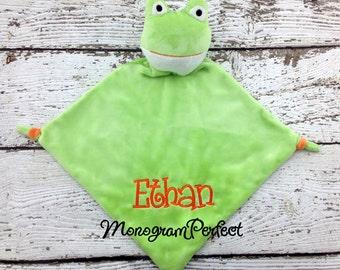 Personalized Frog Wee Blankie Cuddle Buddie