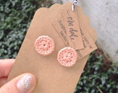 Crochet Button Earrings in Light Peachy Pink