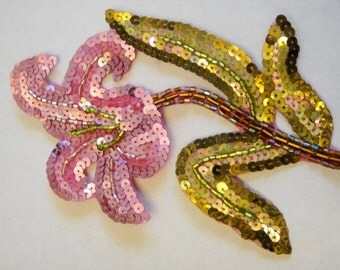 Pink Sequin Flower Applique, Pink Applique, Iron On Applique, Sequin Applique 34-203