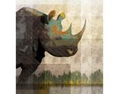 Rhino Art Print Rhinoceros Illustration Giclee Print Mixed Media Artwork Wall Decor / 8x10in