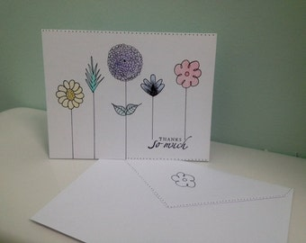 Hand Drawn Flowery Thank You Card