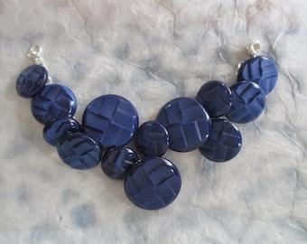 Vintage Blue Button Bracelet