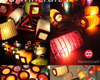 20,35 of 4 Design Asian Multi Design Color Chinese Paper Lantern Fairy String Lights Patio Party Wedding Gift Wall Hanging Decor Japenese
