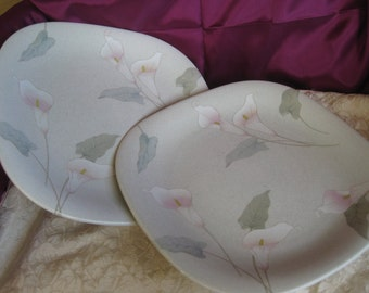 Mikasa Natural Beauty Gardenside Dinner plates Square shape, Very good, Set of TWO included