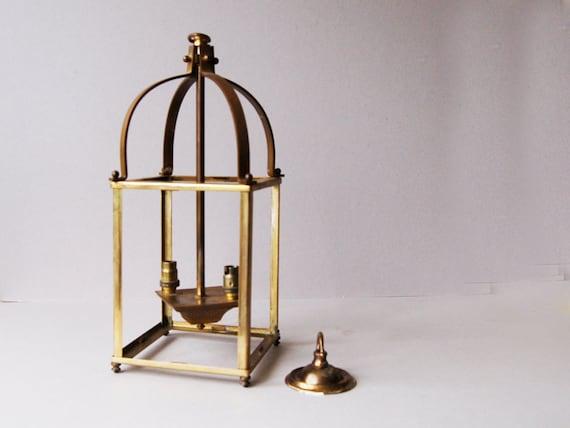 Antique brass lantern Hall lamp Brass pendant lamp Ceiling light Antique  lighting Ceiling rose Domed shape