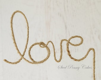 Rustic Rope Twine Wire Boho Love Wedding Cake Topper (Ready to ship!)