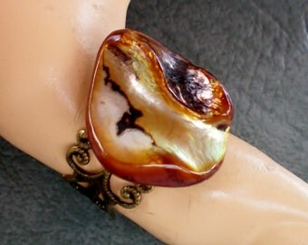 Caramel blister shell ring, Recycled jewelry, Handmade jewelry, Repurposed jewelry, Upcycled, Free USA shipping,Made in USA,Made in Michigan