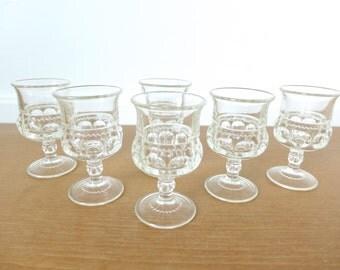 Vintage Tiffin Kings Crown or Thumbprint cordial glasses, set of six