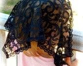 Child's size black lace chapel veil, Prod.# Zb01