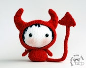 Halloween Devil Doll. Knitting pattern (knitted in the round)