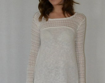 Hi Lo Sweater in Ivory