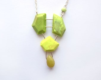 Color block necklace, genuine gemstone jewelry, sterling silver necklace, opal necklace, gemstone necklace, bold yellow green necklace