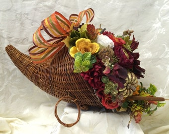 Cornucopia Centerpiece Thanksgiving Centerpiece Holiday Table Decor Autumn (Large)