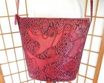 Vintage 80s Carlos Falchi Purse in Red Embossed Leather Snake Skin Pattern with Embroidered Leather Patches Bucket Style SALE