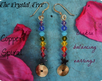 Copper Spiral - Rainbow Chakra Balancing Energy Earrings - Swarovski crystals and hematite - Crystal Energy, Reiki charged
