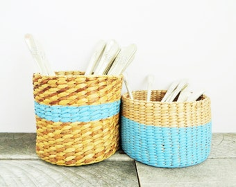 Pair of Little Baskets - Painted Basket - Trendy Organization - Beachy Blue Home Decor