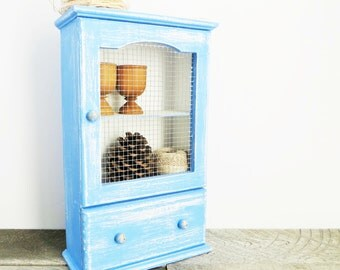 Periwinkle Blue Curio Cabinet - Vintage Upcycled - Cottage Chic Distressed