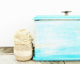 Rustic Box - Aqua Home Decor - Shabby Chic