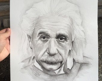 Albert Einstein ORIGINAL Watercolor Portrait Painting, 12x16