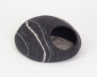 Charcoal  river stone felt cat cave/ safe kitty house (With GIFT pad)