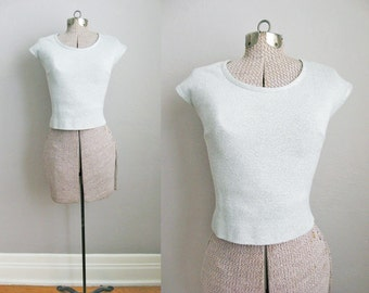 1960s Vintage Crop Top Silver Sweater Sweatshirt Cropped Sleeveless / Extra Small XS