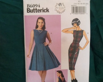 Butterick 6094: Women's Dress in two variations with open back