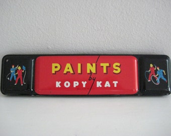 vintage watercolor paint tin / Kopy Kat - The American Crayon Company - U.S.A. - storage - container - box - tin litho - prop - collectible
